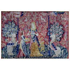 Medieval Style Flemish Needlework Tapestry of a Lion, Maidens and Unicorn