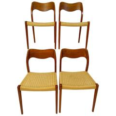 Set of four Midcentury Schandinavian Dining Chairs 71 by Niels O. Moller