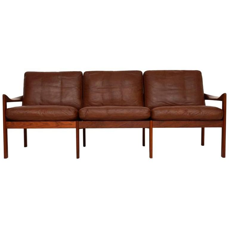 Danish Retro Teak And Leather Sofa By Illum Wikkels