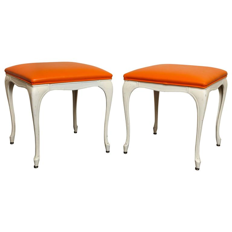 Pair of Mid-Century Modern Painted White Metal Benches or Stools