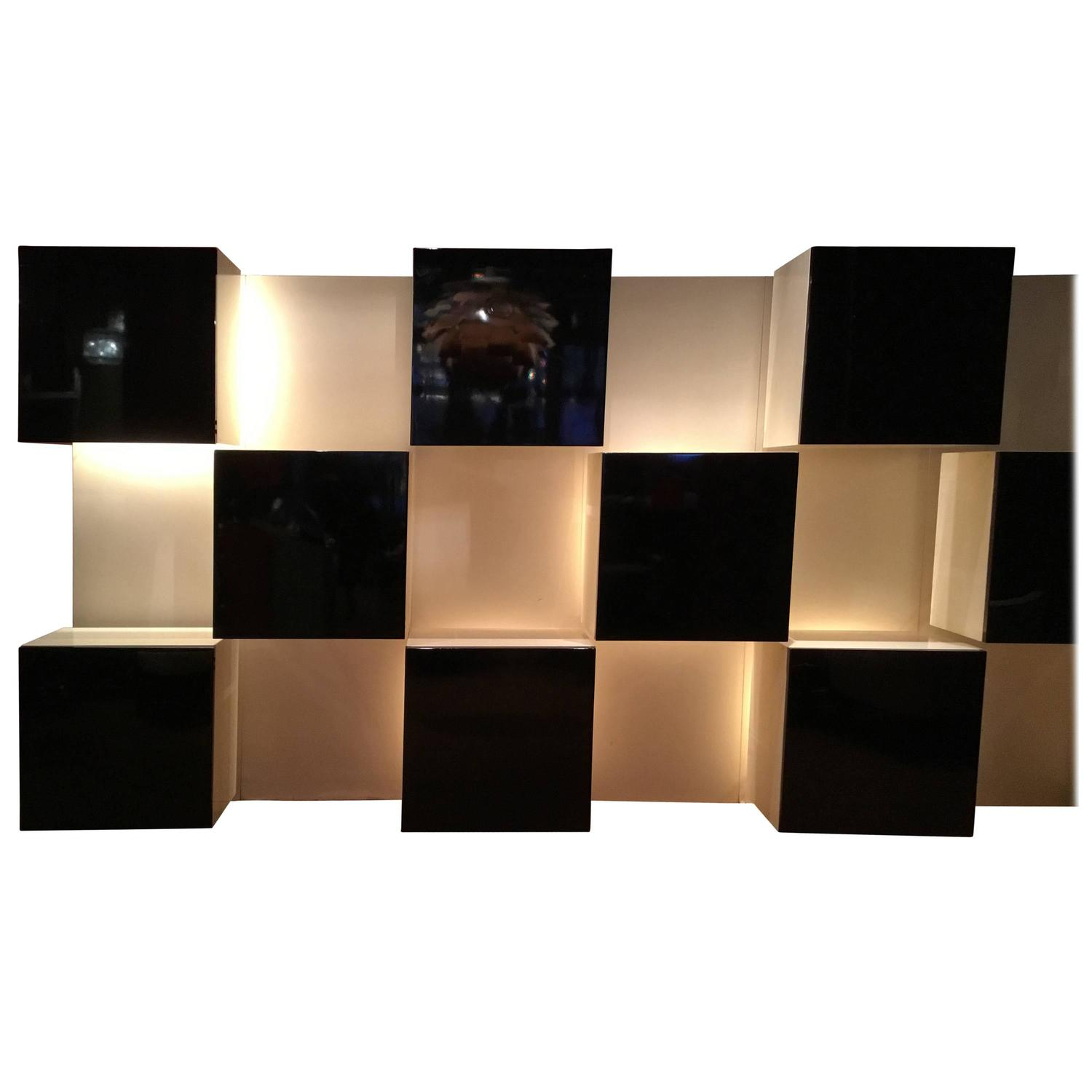 Illuminated Wall Unit Designed By Roberto Monsani For Acerbis For Sale At  1stdibs