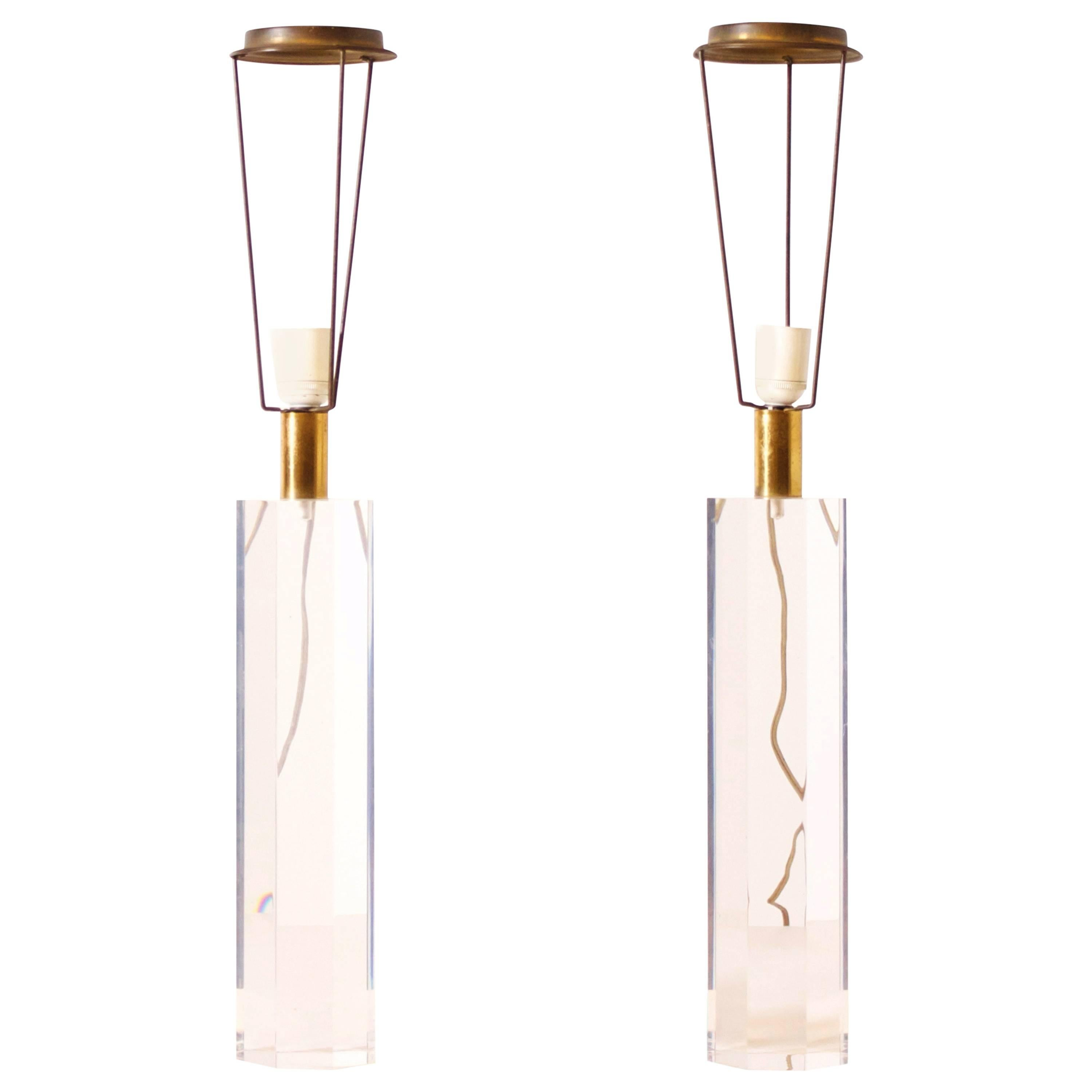 Set of French 1970s Lucite Table Lamps