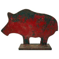 Painted Shooting Gallery Target of a Pig, American, circa 1900