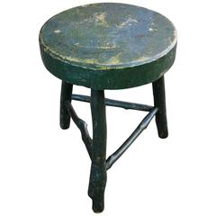 Carved and Painted Tripod Stool with Twig Base, American, Late 19th Century