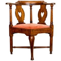 18th Century English Oak Corner Chair