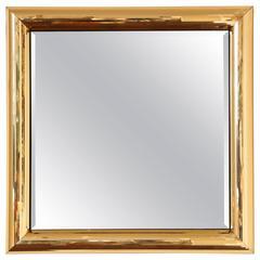 Disco Ball Gold Square Mirror Frame