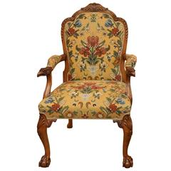 Carved Eagle Armchair with Floral Upholstery