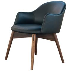 Cascade Club Chair by Phloem Studio in Hardwood and Leather or Wool Upholstery