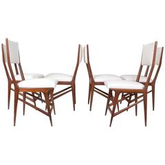 Set of Six Carlo di Carli Style Dining Chairs, Italy