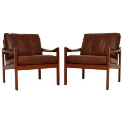 Pair of Danish Teak and Leather Armchairs by Illum Wikkelsø, Vintage, 1960s