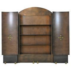 Neoclassical Steel and Brass Wall Unit by Belgochrom, Belgium, 1980s