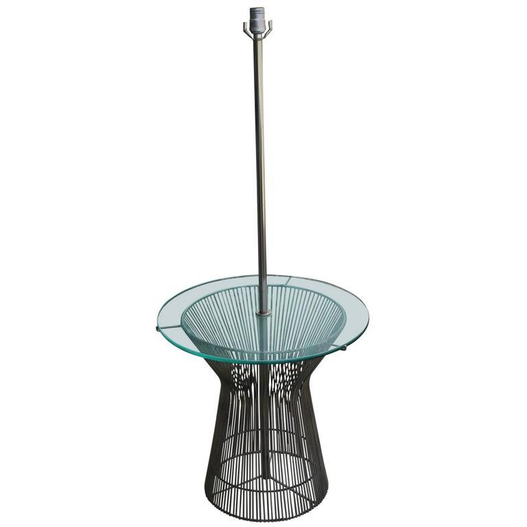 Modern Warren Platner Style Wire Round Lamp Table by Laurel