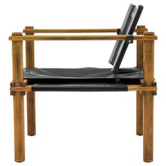 Safari Lounge Chair in Oak and Leather by Gerd Lange, Germany