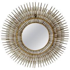 Curtis Jere Gilded Steel Sunburst Nail Mirror