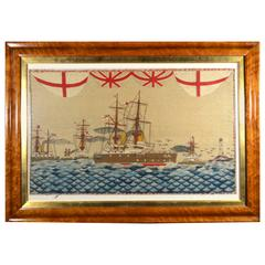 Sailor's Woolwork Large Picture of Five Royal Navy Battleships on Unusual Seas