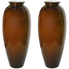 1980 Modern Italian Pair of Golden Brown Murano Glass Vases with White Interiors