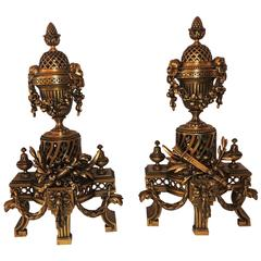 Wonderful French Gilt Bronze Neoclassical Fireplace Fire Place Chenets Andirons