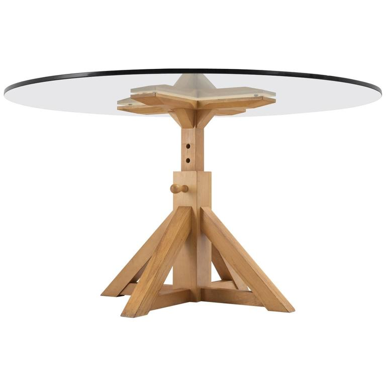 Pedestal Dining Table With Height Adjustable Wooden Base For Sale At 1stdibs