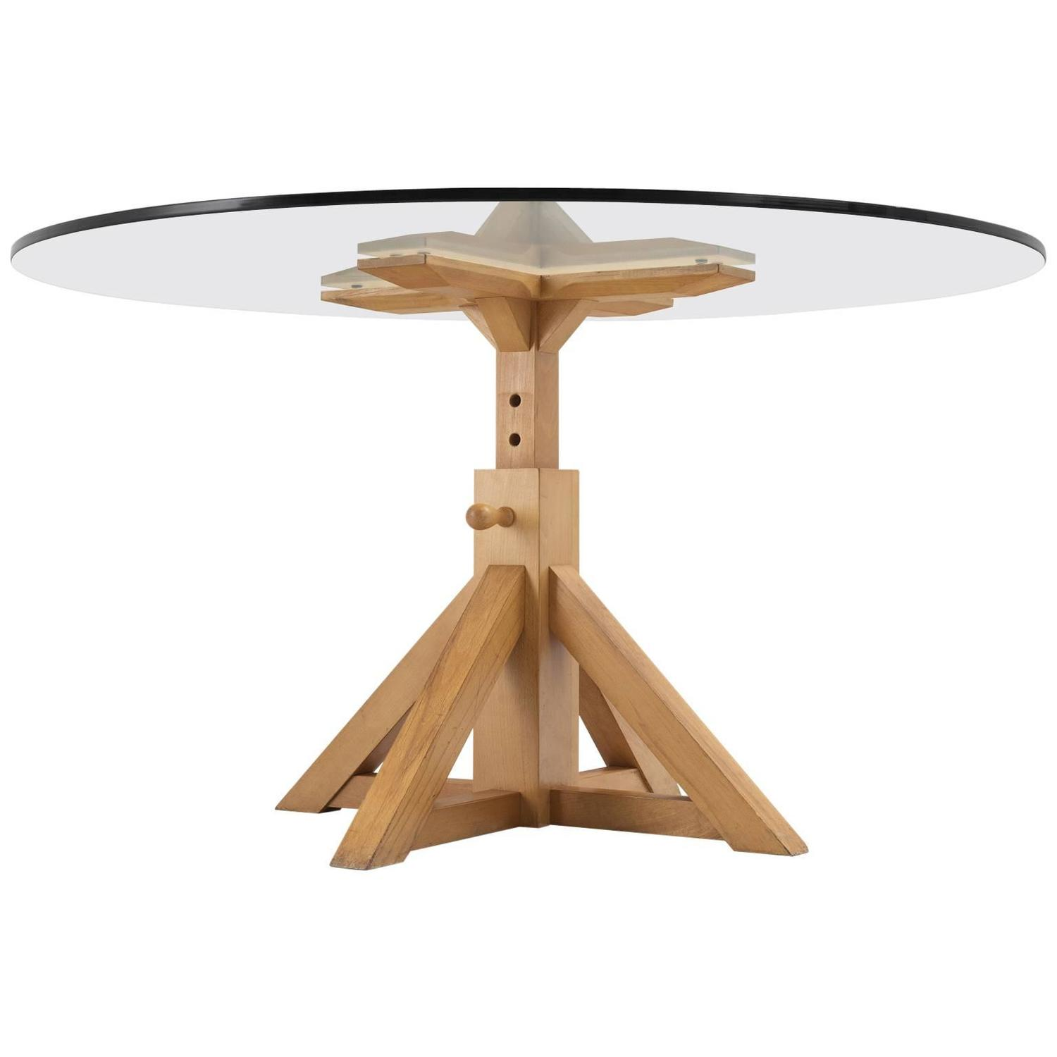 Pedestal Dining Table with Height Adjustable Wooden Base  : 5895953z from www.1stdibs.com size 1500 x 1500 jpeg 50kB