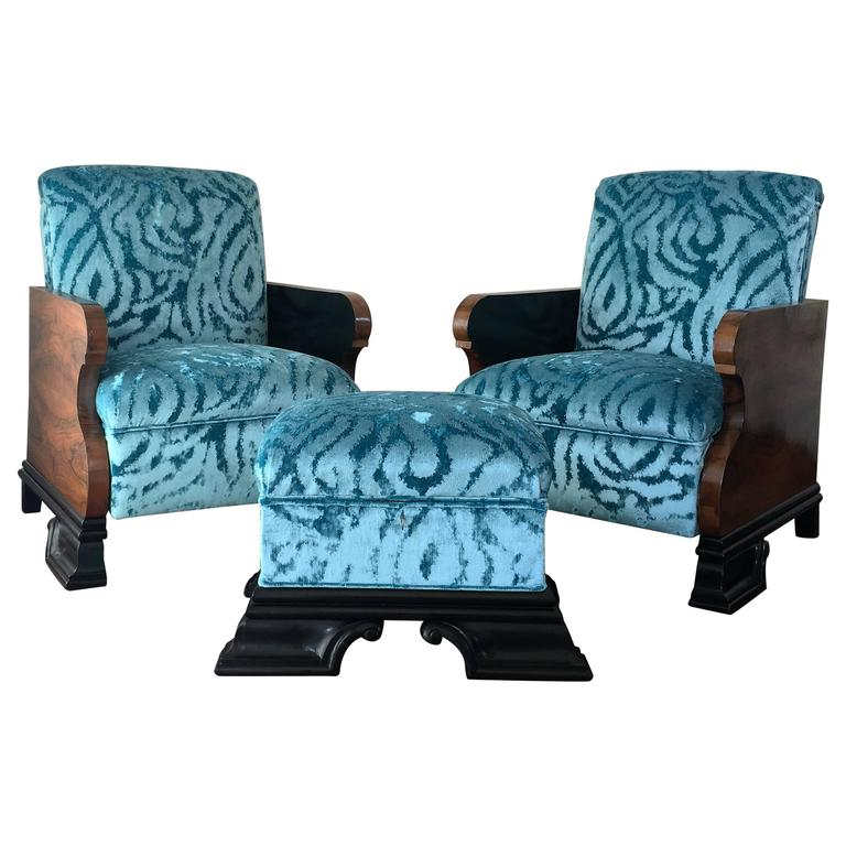 Pair Of Art Deco Armchairs And Ottoman In Turquoise Velvet