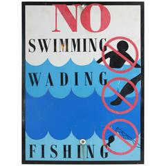 """Mid-20th Century Metal Graphic """"No Swimming...."""" Park Sign"""