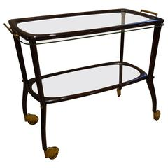 Rosewood Trolley and Crystal Tray