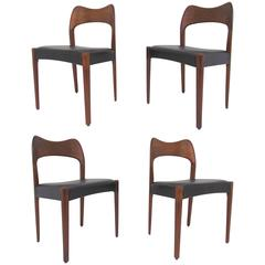 Set of Four Danish Teak Dining Chairs by Arne Hovmand-Olsen, circa 1960s