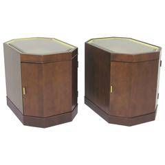 Pair of Mid-Century Octagonal End Tables or Nightstands in Manner of Probber