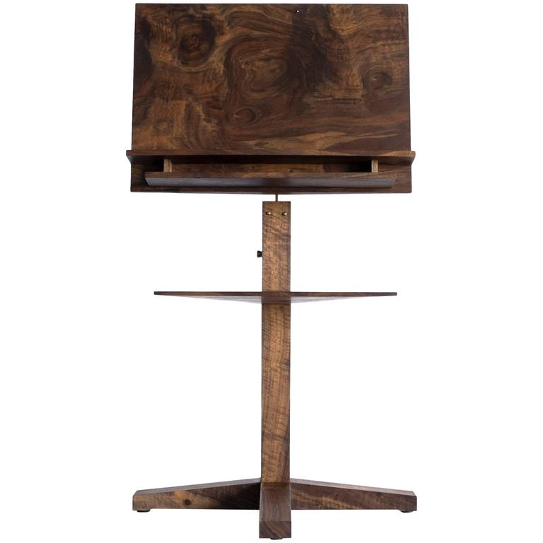 Modern Solid Claro Walnut and Polished Brass Adjustable Music Stand with Storage