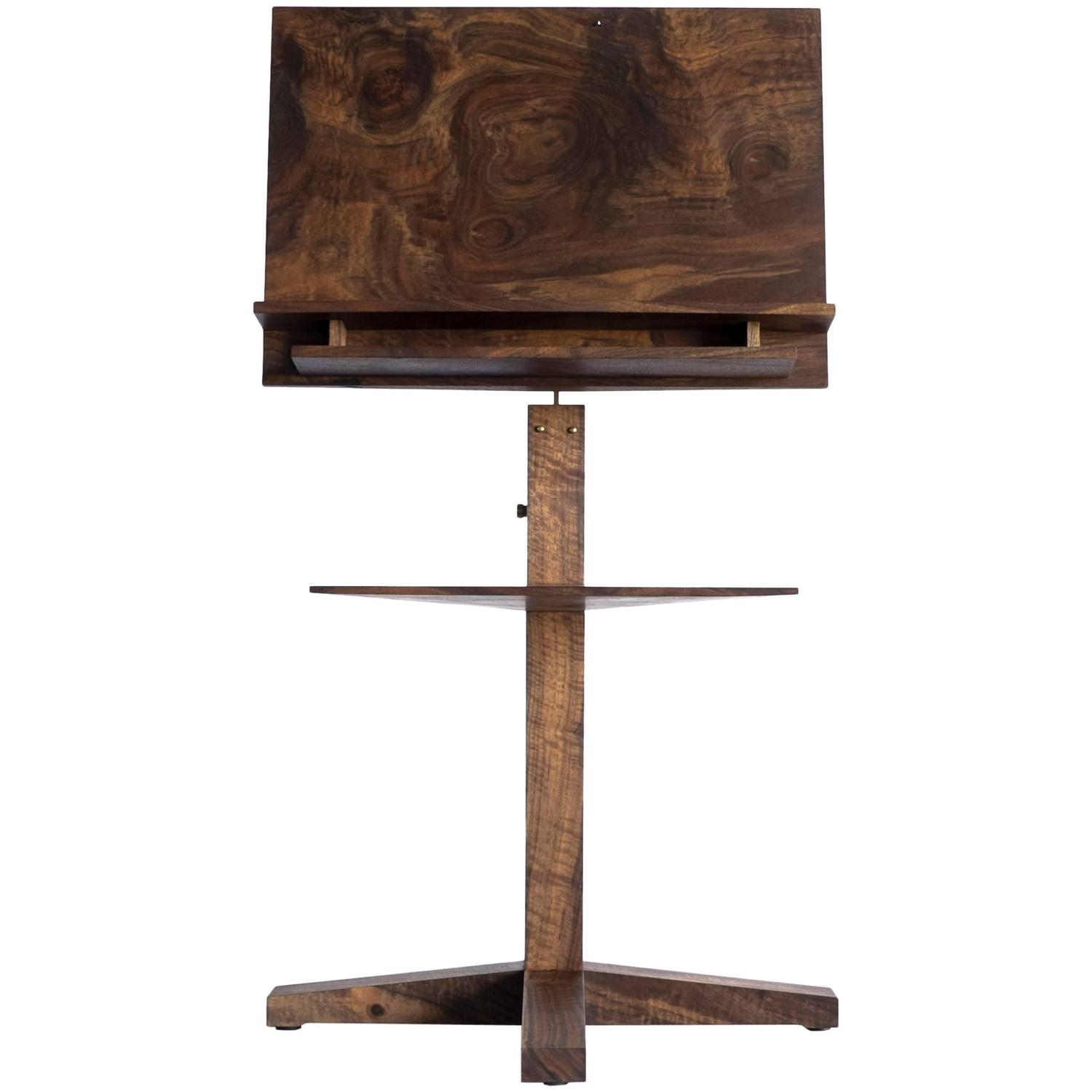 modern solid claro walnut and polished brass adjustable music stand with storage for sale at 1stdibs. Black Bedroom Furniture Sets. Home Design Ideas