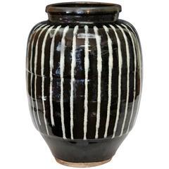 Shigaraki Japanese Storage Jar Vase with Bold White on Black Design