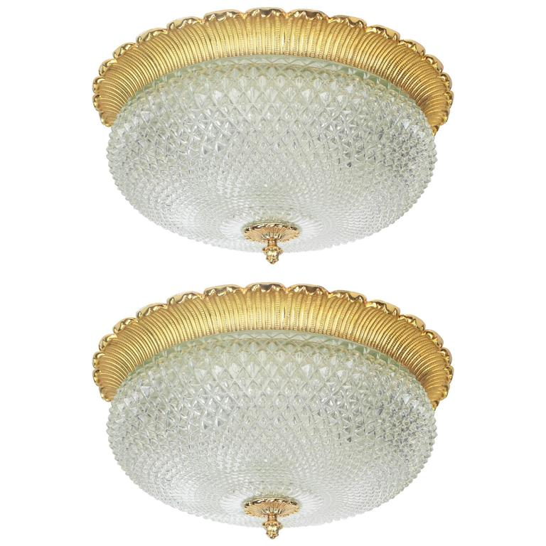 Pair of Large Brass Flush Mount by Limburg, Germany, 1970s