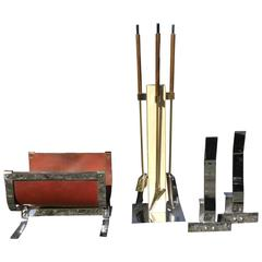 Mid-Century Italian Travertine Fireplace Set Andirons & Log Rack