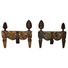 Wonderful French Bronze Neoclassical Fireplace Draped Fabric Chenets Andirons