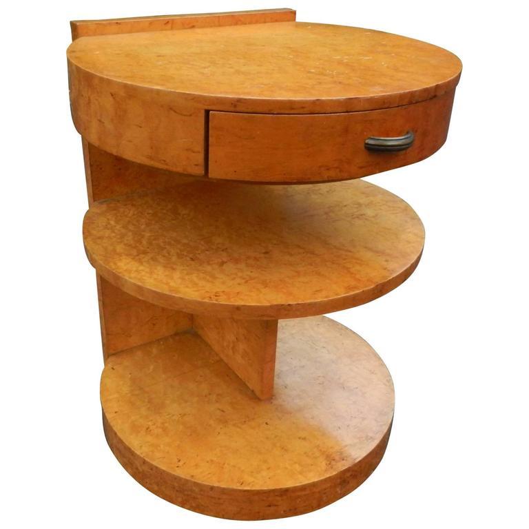 Art Deco Maple and Brass Nightstand