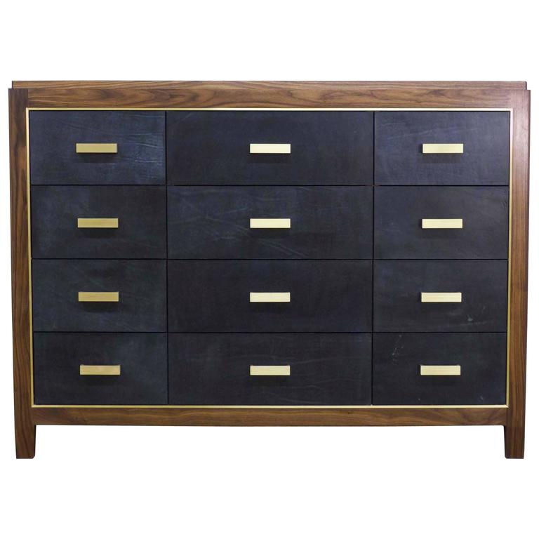 Mexican Mid-Century Modern Inspired Abuelo Bureau 12-drawer in Walnut & Leather For Sale