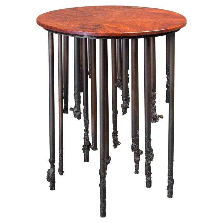 Stalactite iii burl wood and iron side table for sale at for Iron and wood side table