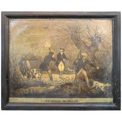 """French Large Scale Mid-19th Century """"Hunting Marshes"""" Oil on Canvas"""