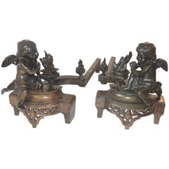 Wonderful French Empire Bronze Regency Fireplace Putti Cherubs Chenets Andirons