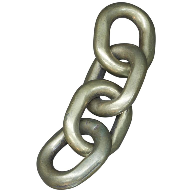 1960s Brass Chain Links Sculpture Paperweight in the manner of Carl Aubock
