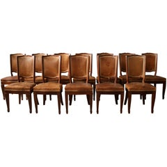 A Set of 12 Fine French Art Deco Mahogany Dining Chairs in the Manner of Arbus