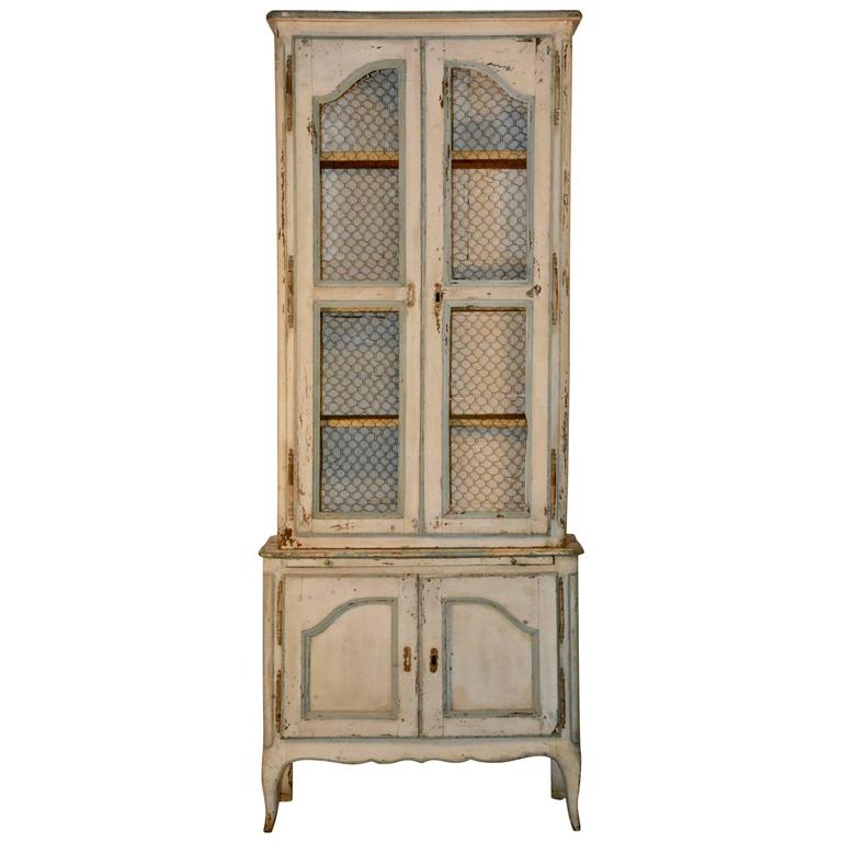 19th Century Country French Wire Front Cupboard