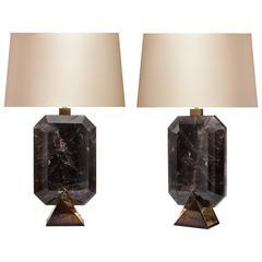 Pair of Diamond Form Smoky Brown Rock Crystal Quartz Lamps