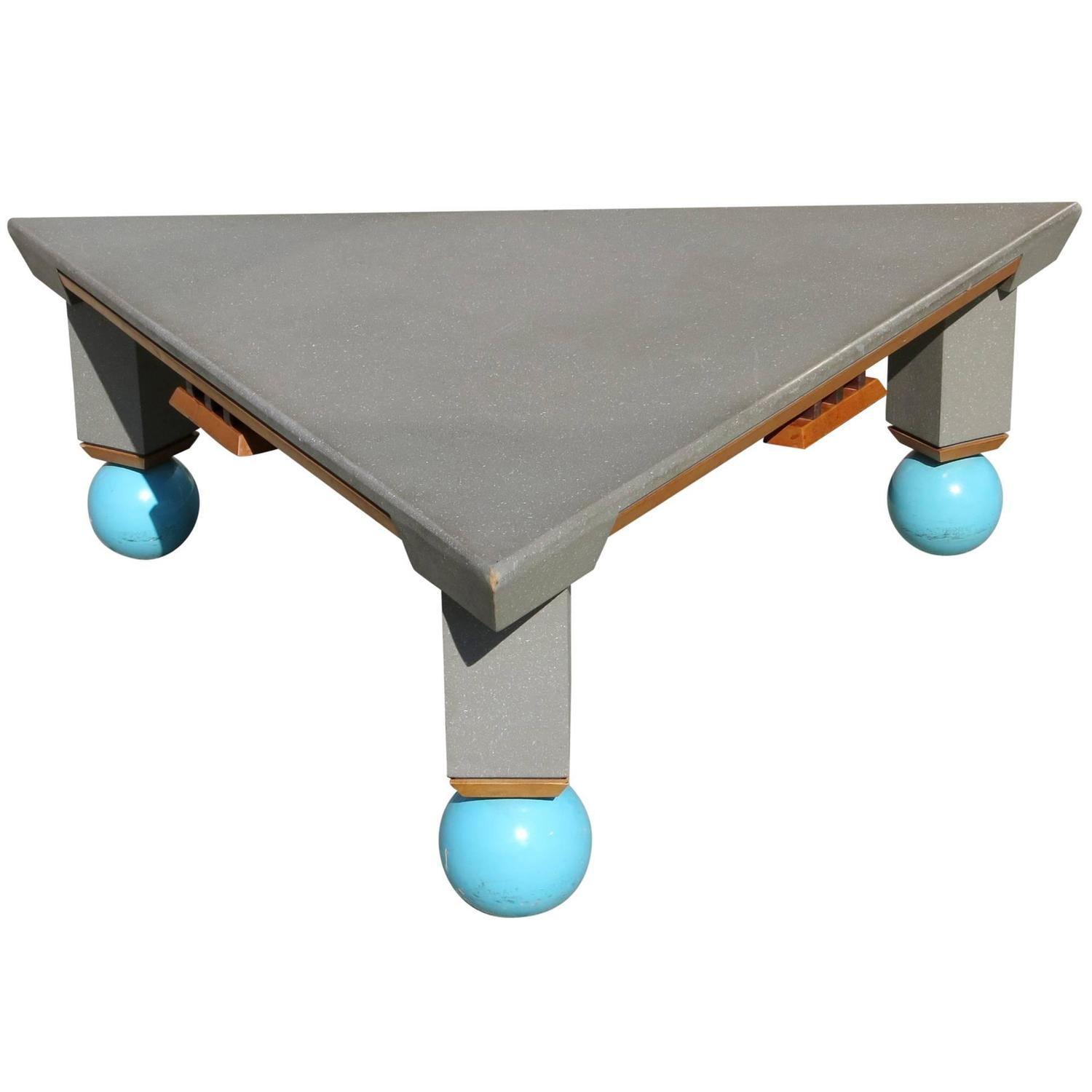 Large Triangle Memphis Coffee Table In The Ettore Sottsass Style For Sale At 1stdibs