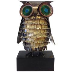 Copper and Enamel Owl by Curtis Jere