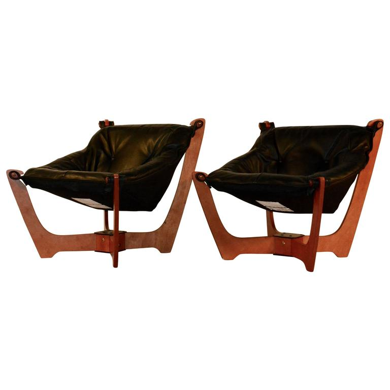 Charmant Pair Of Mid Century Modern Style Luna Sling Chairs For Sale
