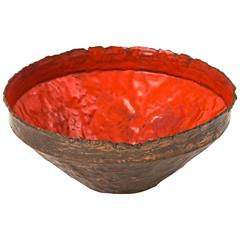 Marcello Fantoni Hammered and Torch Cut Copper Bowl with Red Enamel