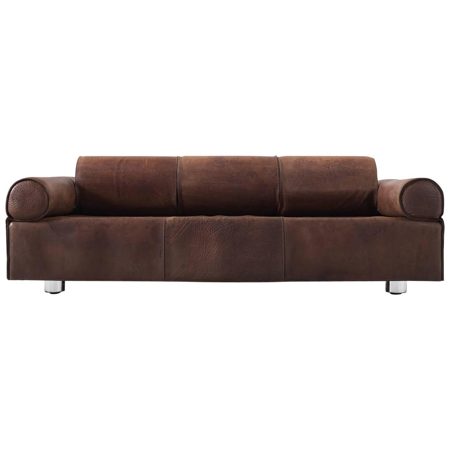 Marzio Cecchi Rare Brown Buffalo Leather Sofa For Sale at 1stdibs