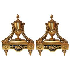 Wonderful French Pair Regency Empire Dore Bronze Chenets Urns Swag Andirons