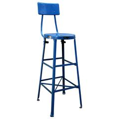 Very Tall Blue Industrial Stool, American, Mid-20th Century